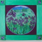 A grass green frame with square Iris insets at the corners surrounds a garden of Irises which sit before Penobscot Bay. Can you find the ladybug?