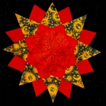 Red, gold and blue fabrics with space images make up a fabric sun which sits on a black, starry background